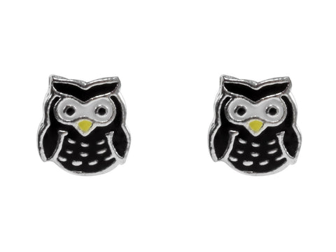 Owl Enamelled Solid Sterling Silver Stud Earrings