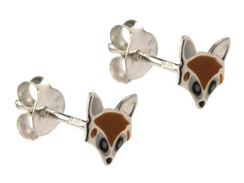 Fox Enamelled Solid Silver Stud Earrings