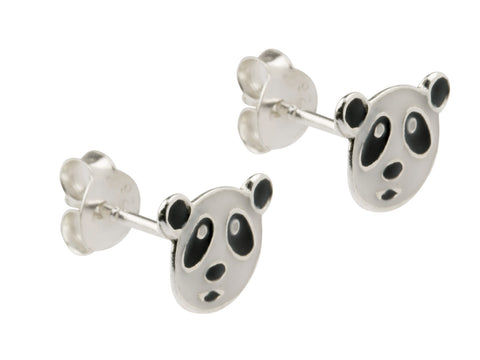 Panda Enamelled Solid Sterling Silver Stud Earrings
