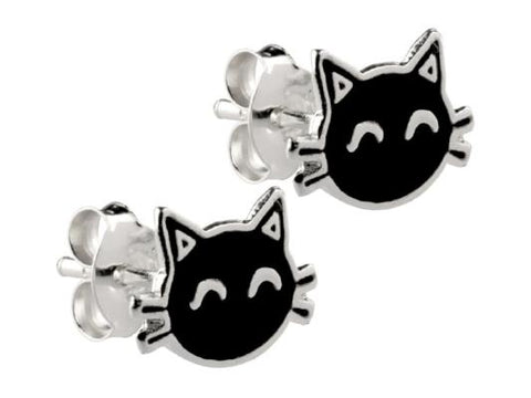 Black Cat Enamelled Sterling Silver Stud Earrings