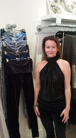 DeAnna previewing Ebullire's luxurious leggings at Abi Ferrin West Village 12 December 2015.