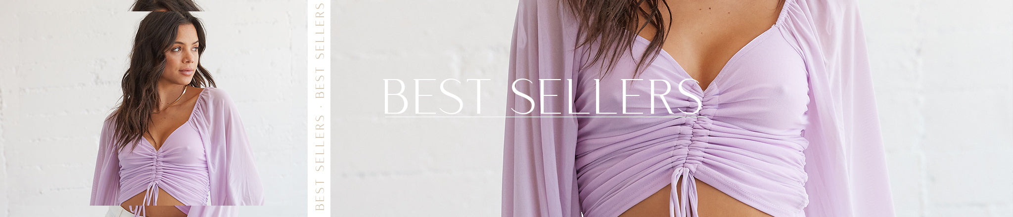 Best Sellers featuring a cropped, lilac mesh-balloon-sleeve top with cinch front detail.