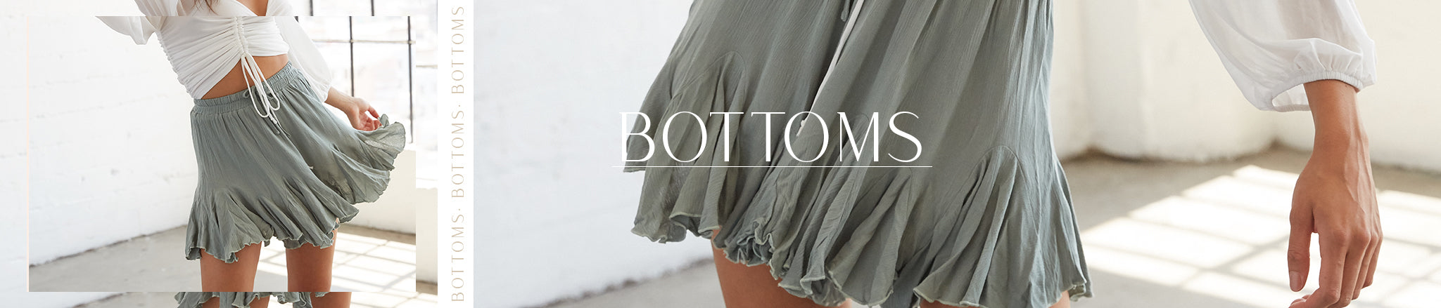 Bottoms featuring flowy high waisted ruffle shorts in sage green.