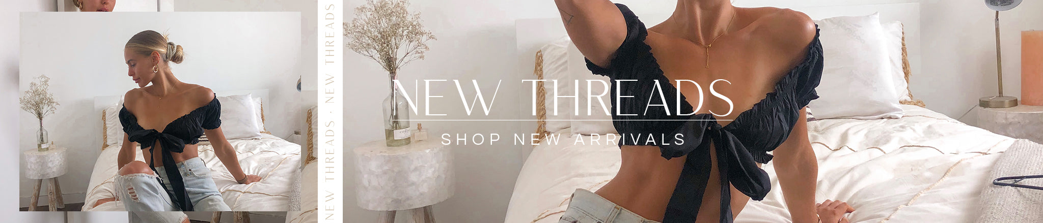 New Threads banner featuring a black cropped tie top and distressed denim.