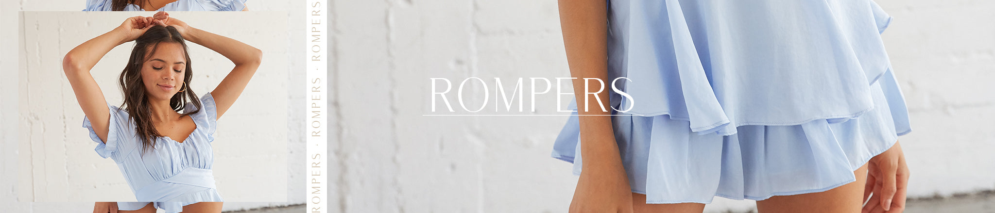 Rompers featuring a light blue sweetheart neckline romper with ruched bust and ruffled overlay.