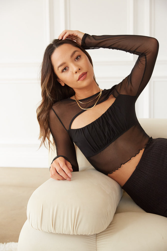 Black mesh crop top with long sleeves.
