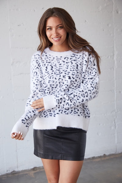 Alice Fuzzy Leopard Sweater