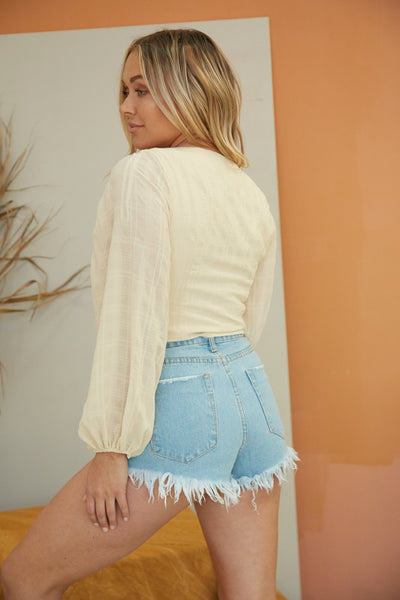 Gracie Distressed Denim Shorts
