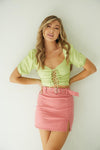 Paradise Belted Mini Skirt in Pink.