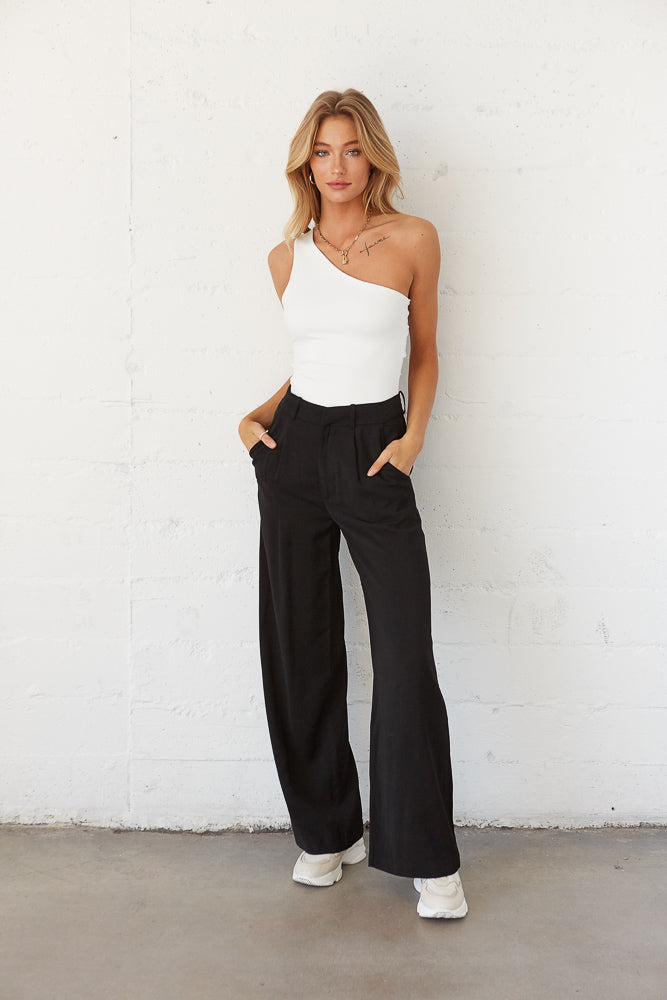 Black Trouser Pants with white bodysuit.