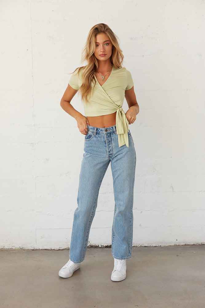 High rise relaxed straight jeans.
