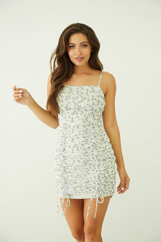 Lily Floral Ruched Mini Dress