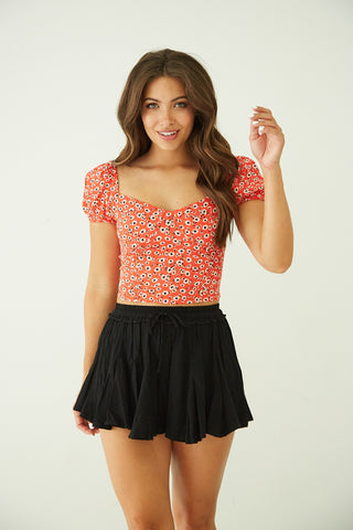 Sangria Floral Crop Top