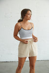 high waisted linen shorts.