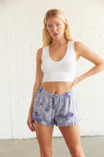 Blue high rise shorts.