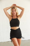 Black halter tank top with matching shorts.