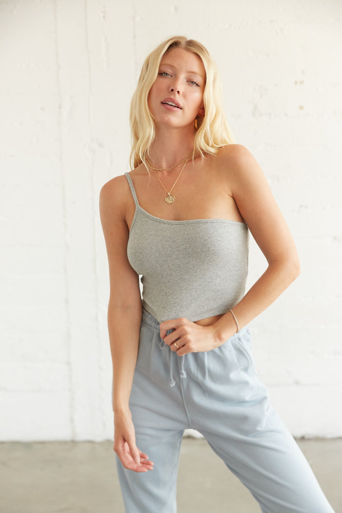 Grey ribbed one shoulder tank top.