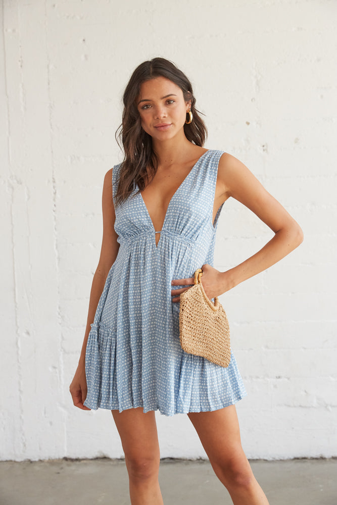 Gorgeous blue swing dress with a flowy silhouette.