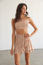 Rust and white floral skirt set.