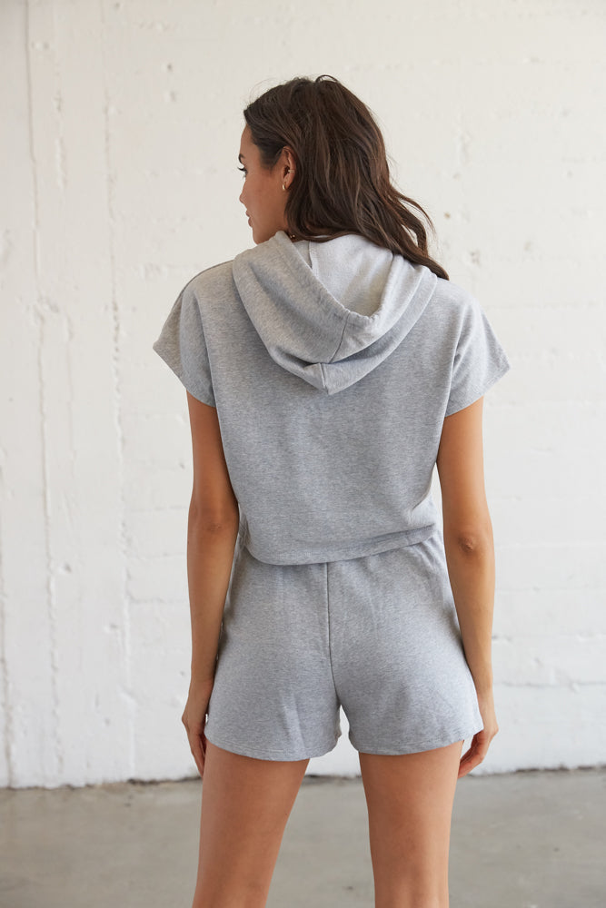 Relaxed boxy crop sweatshirt and matching short set.