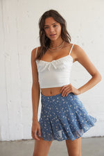Blue floral mini skirt.