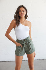High waisted paperbag shorts in olive.