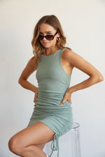 Wilhelmina Ribbed Cinch Dress In Sage