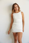 Wilhelmina Ribbed Cinch Dress In White