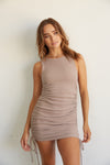 This beautiful dress has a ruched fitted body for a flattering fit.