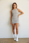 Heather grey cinched dress with side ruched detailing.