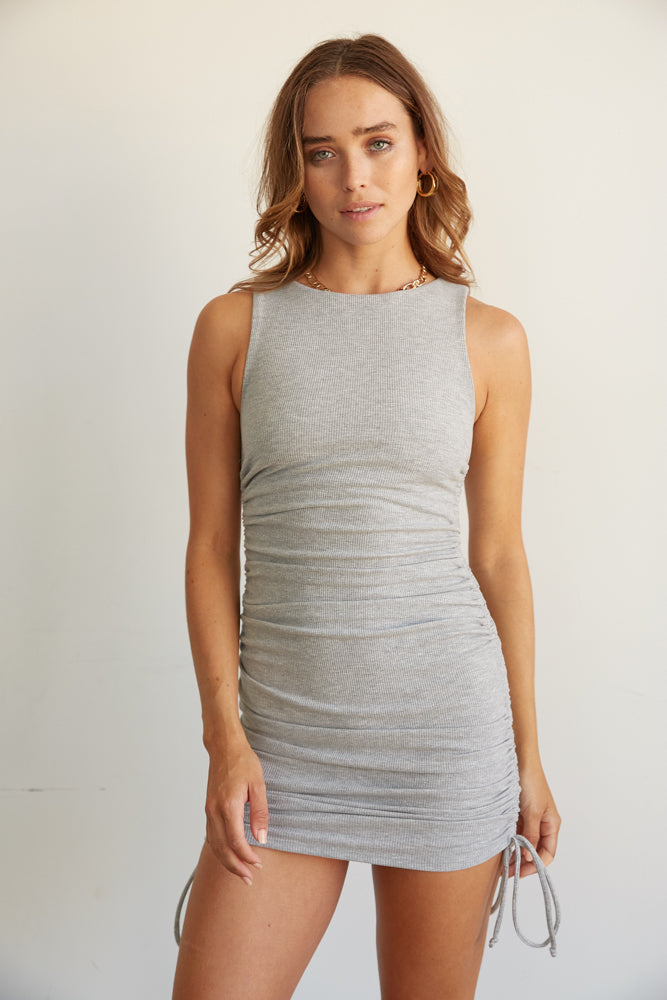 Heather grey cinched mini dress.