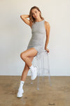 Heather grey mini dress with side ruched detailing.