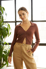 Brown sweater top.