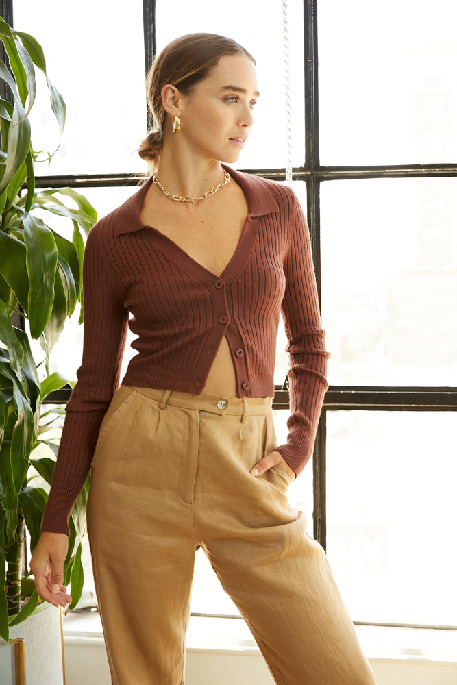 Brown collar top.
