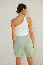 Elastic waistband shorts in mint green.