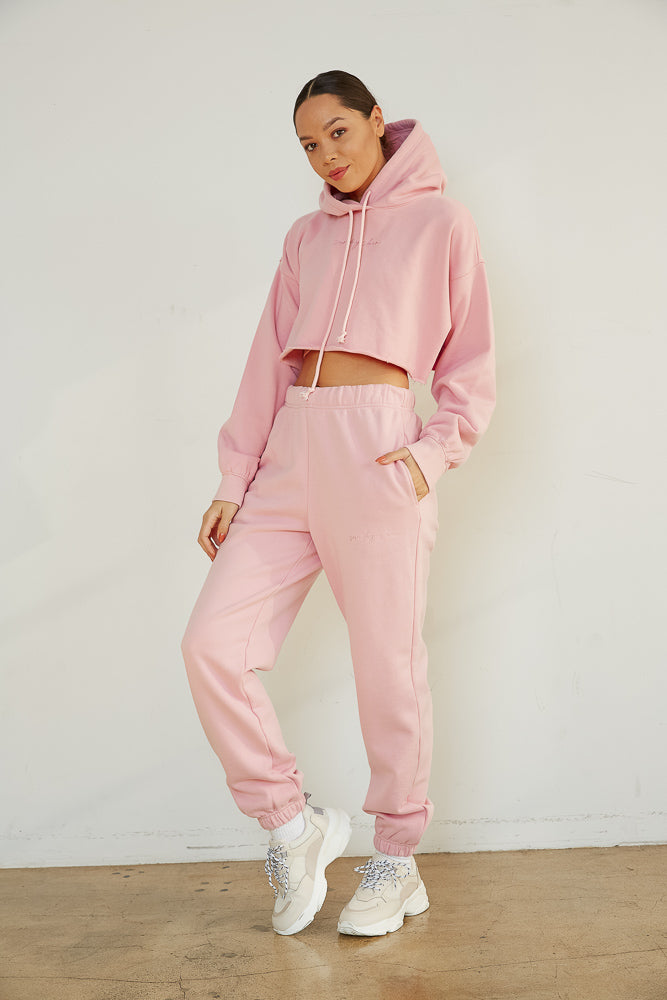 Girlfriend Crop Hoodie In Pink