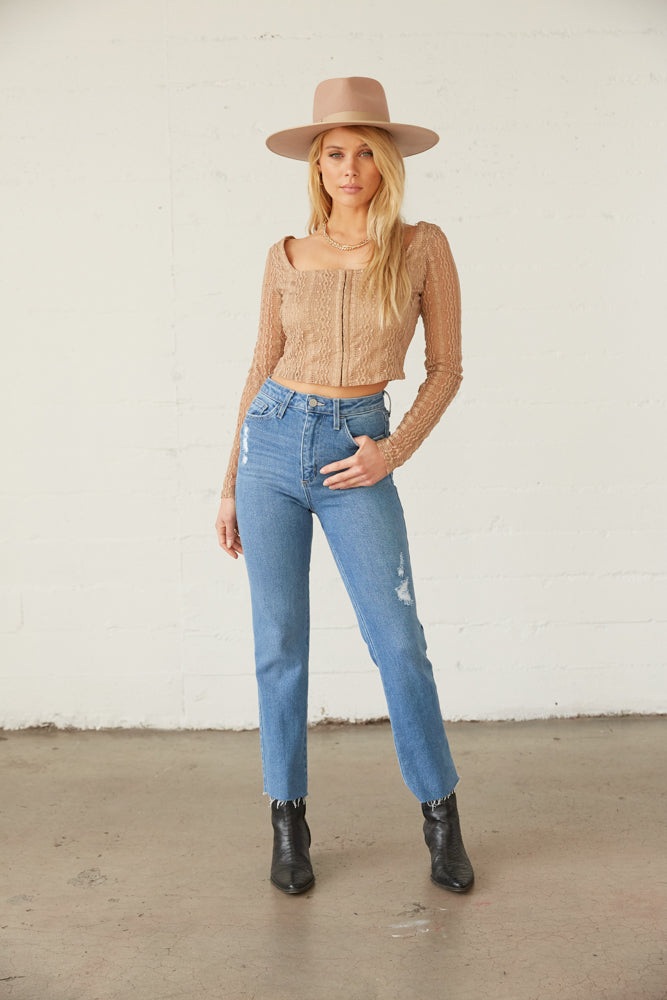 High rise denim jeans.