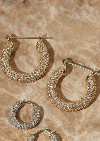LUV AJ Pave Baby Amalfi Hoops In Gold