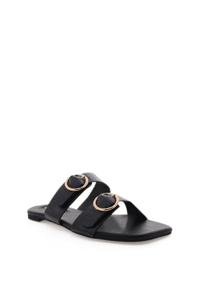 Alaia Crocodile Slide Sandal in Black