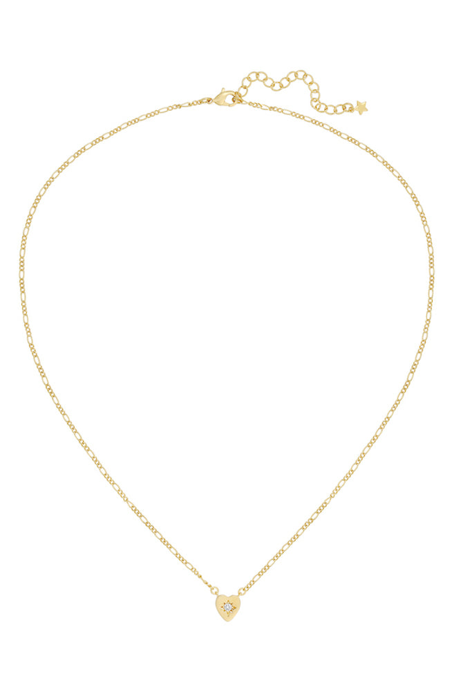 gold delicate charm necklace design with a clear cubic zirconia accent