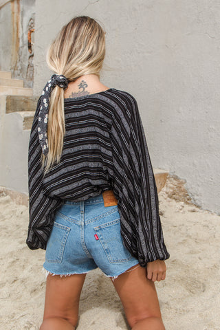 Savannah Striped Wrap Top