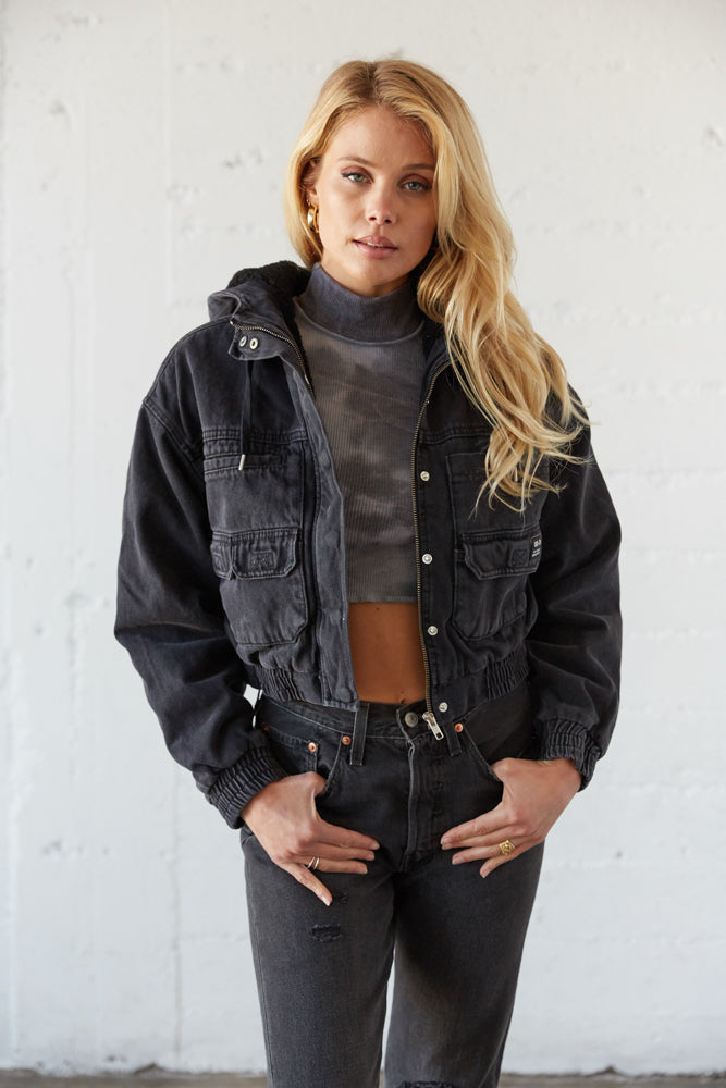Black BDG Utility cropped jacket.