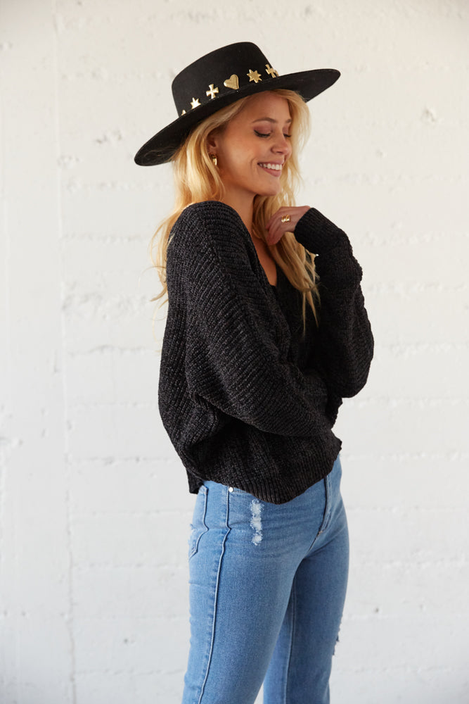 The side of this sweater has long slouchy sleeves for a cozy look.