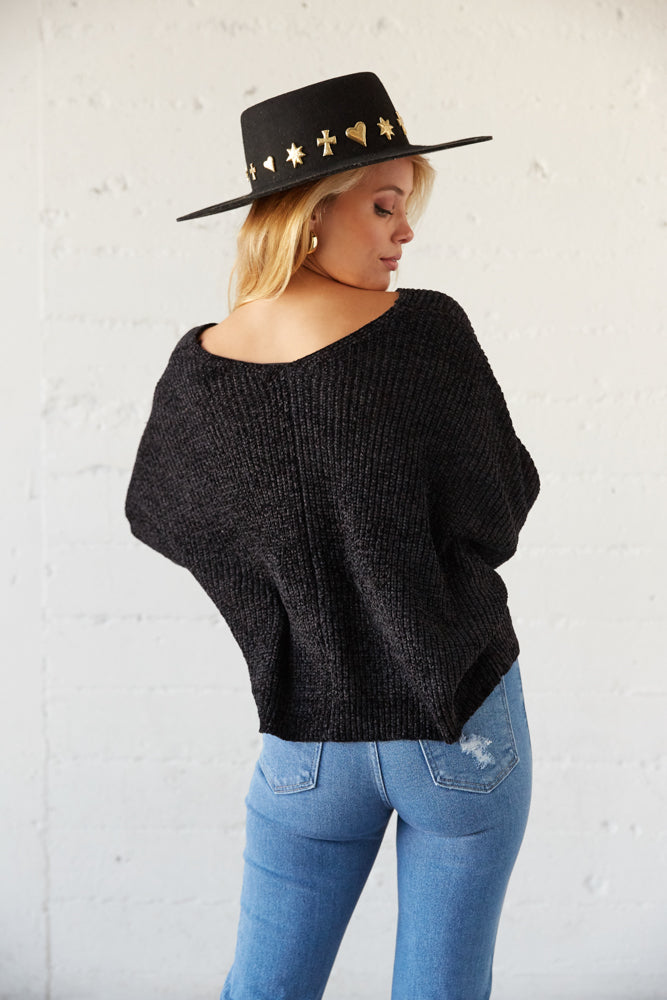 The back of this sweater is relaxed.