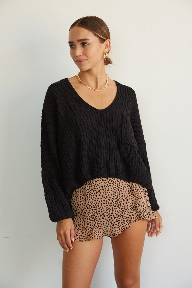 V neck black knit sweater.