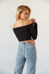 The back of this crop top is ribbed and cropped.