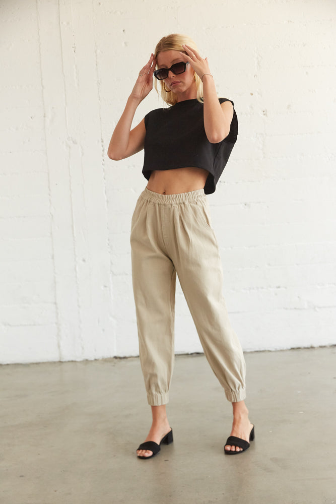 Oversized jogger pants in tan.