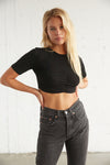 Black ribbed crop top.