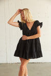 Black tiered ruffle dress with v neckline
