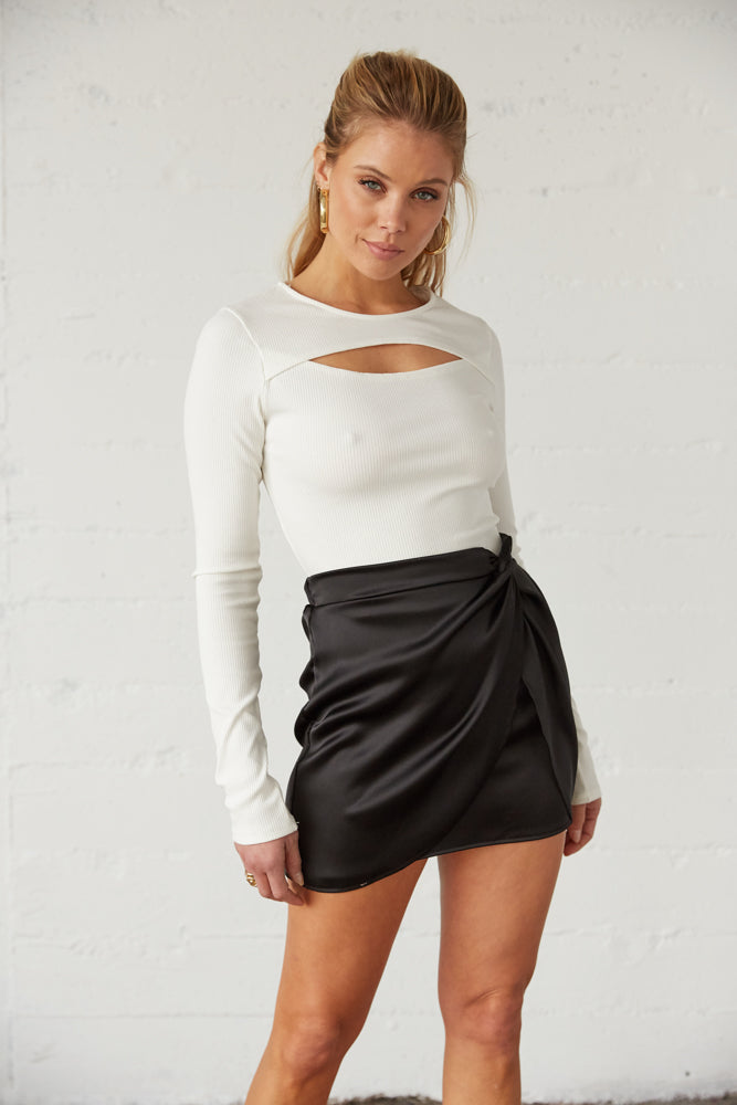 Ruched wrap mini skirt.
